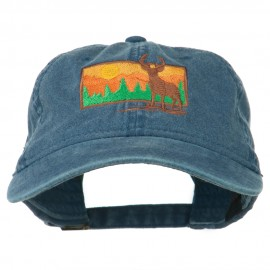 Deer Hunting Silhouette Embroidered Washed Cotton Cap - Navy