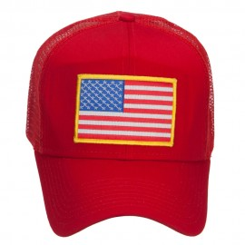 Gold American Flag Patched Mesh Cap