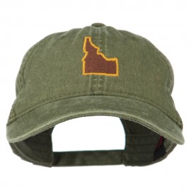 Idaho State Map Embroidered Washed Cotton Cap - Olive Green