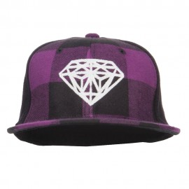 Diamond Outline Embroidered Plaid Flat Bill Cap