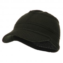 Army Jeep Style Beanie Cap - Olive