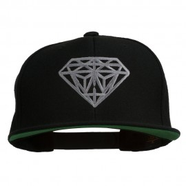 Big Diamond Outline Embroidered Flat Bill Black Cap