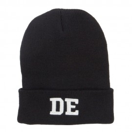 DE Delaware State Embroidered Long Beanie