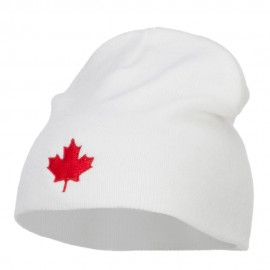 Canada Maple Leaf Embroidered Short Beanie - White