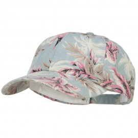 Denim Cotton Floral Print Cap