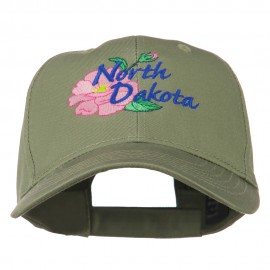 North Dakota Wild Prairie Rose Flower Embroidered Cap