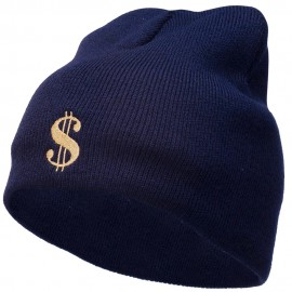Dollar Sign Logo Embroidered Short Beanie