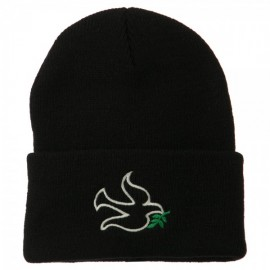 Dove Symbol Embroidered Long Beanie