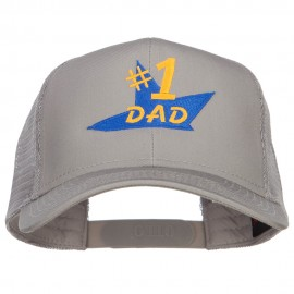 Number 1 Dad Star Embroidered Solid Mesh Cap