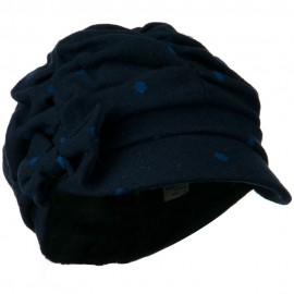Dagny Polka Dot Newsboy Hat - Navy Blue