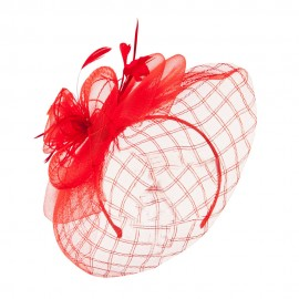 Spiral Design Net Fascinator with Feathers - Red