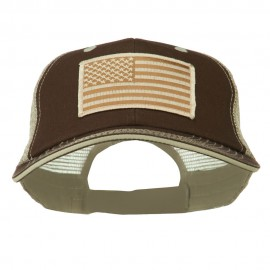 Desert American Flag Patched Big Size Washed Mesh Cap
