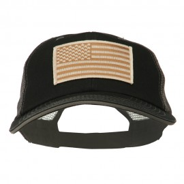 Desert American Flag Patched Big Size Washed Mesh Cap - Black Grey