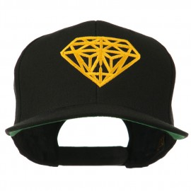 Diamond Outline Embroidered Snapback Flat Bill Cap - Black