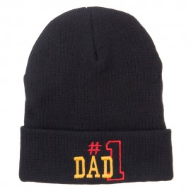 Number 1 Dad Outline Embroidered Long Beanie - Black