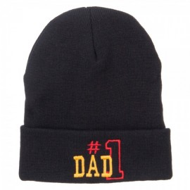 Number 1 Dad Outline Embroidered Long Beanie