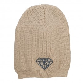 Big Size Grey Diamond Embroidered Rib Beanie