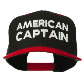 American Captain Embroidered Snapback Cap - Black Red
