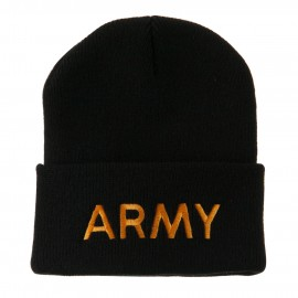 Military Embroidered Beanie - Army