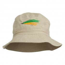 Fly Fishing Embroidered Washed Cotton Bucket Hat