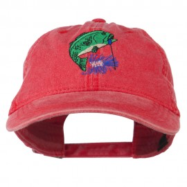 Bass Fishing Embroidered Washed Cap