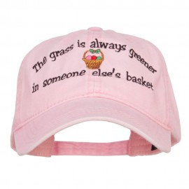 Grass is Greener Easter Embroidered Washed Cap