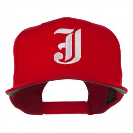 Old English J Embroidered Flat Bill Cap