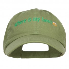 Where's My Beer Embroidered Low Cap