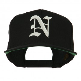 Old English N Embroidered Flat Bill Cap - Black