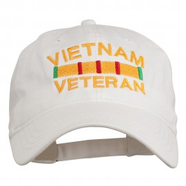 Vietnam Veteran Embroidered Pigment Dyed Brass Buckle Cap - White