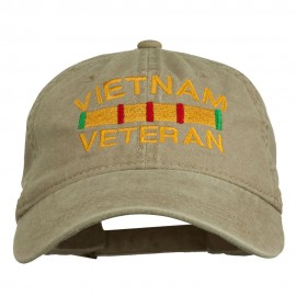 Vietnam Veteran Embroidered Pigment Dyed Brass Buckle Cap - Khaki
