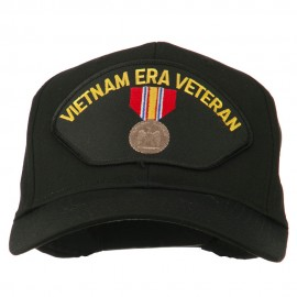 Vietnam ERA Veteran Patched Solid Cotton Twill Cap - Black