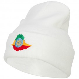 Ethiopia Flag Map Embroidered Long Beanie