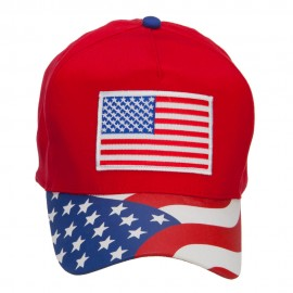 American Flag Patched Flag Visored Cap