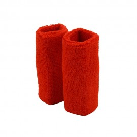 Extra Long Terry Wrist Band Pair- Red