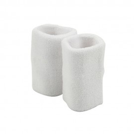 Extra Long Terry Wrist Band Pair- White