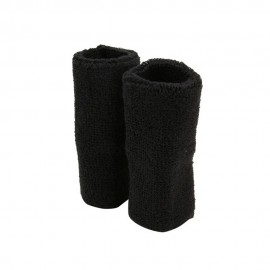 Extra Long Terry Wrist Band Pair - Black