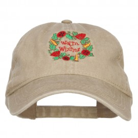 Warm Wishes Embroidered Washed Cap