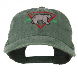 Black Bear Embroidered Washed Cap - Dark Green