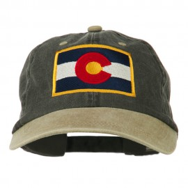 Colorado Flag Embroidered Two Tone Cap - Black Khaki