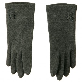 2 Flower Bead Accent Wool Blend Glove - Grey