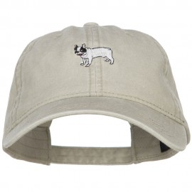 French Bulldog Embroidered Washed Cap