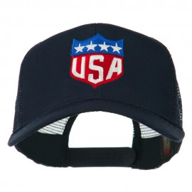 USA Flag Badge Embroidered Mesh Back Cap