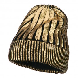 Foiled Long Cuff Beanie - Gold
