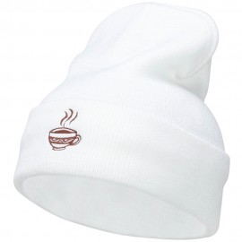 Coffee Cup Embroidered Long Beanie