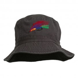 Fly Fishing Embroidered Pigment Dyed Bucket Hat
