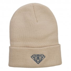 Big Size Grey Diamond Embroidered Long Beanie