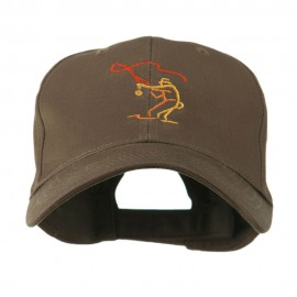 Fly Fishing Man Outline Embroidered Cap - Brown