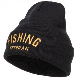 Fishing Veteran Embroidered Long Beanie