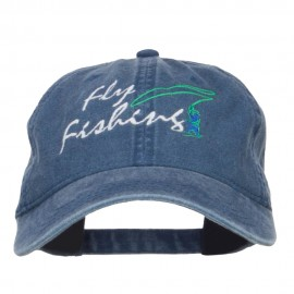 Fly Fishing Embroidered Washed Cap - Navy